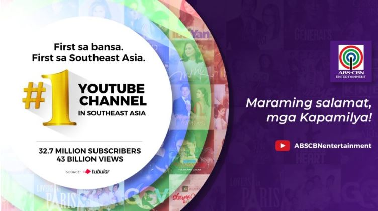 ABS CBN Entertainment now most viewed YouTube Channel in Southeast Asia